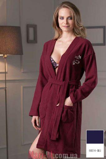 Фото - Синий флисовый женский халат DD883 blu Cotonella Cotonella купить в Киеве и Украине