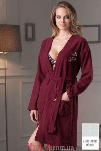 Фото - Серый флисовый женский халат DD883 grigio Cotonella Cotonella купить в Киеве и Украине