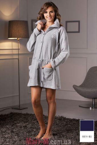 Фото - Синий флисовый женский халат DD884 blu Cotonella Cotonella купить в Киеве и Украине