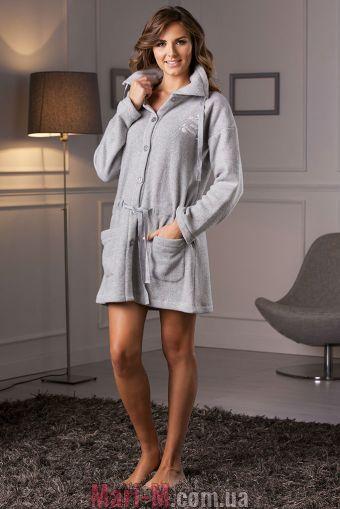 Фото - Серый флисовый женский халат DD884 grigio Cotonella Cotonella купить в Киеве и Украине