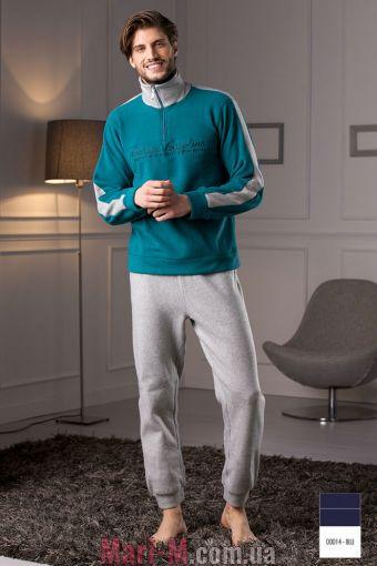 Фото - Синяя флисовая мужская пижама/домашний костюм DU309 blu Cotonella Cotonella купить в Киеве и Украине