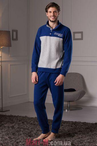 Фото - Синяя флисовая мужская пижама/домашний костюм DU314 blu Cotonella Cotonella купить в Киеве и Украине