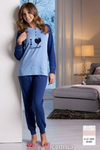 Фото - Серая женская хлопковая пижама DD866 grigio Cotonella Cotonella купить в Киеве и Украине