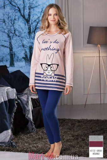 Фото - Серая женская хлопковая пижама DD871 grigio Cotonella Cotonella купить в Киеве и Украине