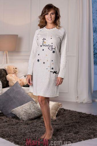 Фото - Песочная хлопковая ночная сорочка DD875 Cotonella Cotonella купить в Киеве и Украине