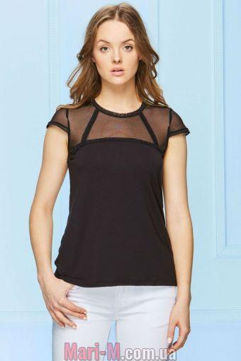 Фото - Черная блузка с гипюром H3/2-4/1 Fabio Fabio купить в Киеве и Украине
