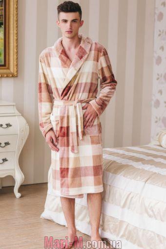 Фото - Мужской флисовый халат в клетку 1334 Shato Shato купить в Киеве и Украине