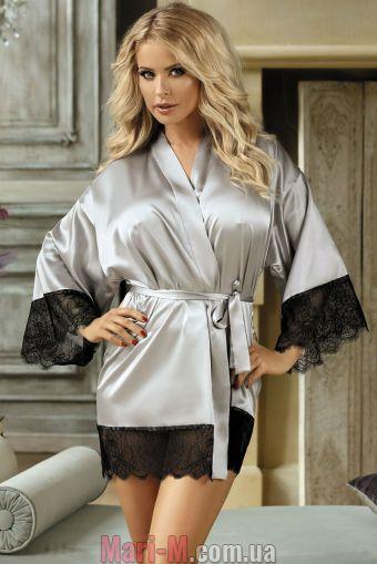 Фото - Серый атласный халат N-713 Excellent Beauty excellent beauty купить в Киеве и Украине