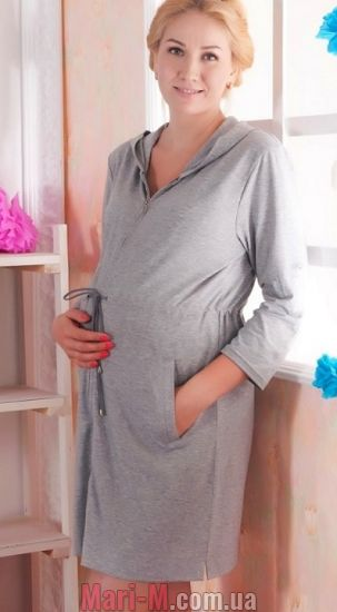 Фото - Халат для беременных и кормящих на змейке 25004 Мамин Дом Мамин дом купить в Киеве и Украине