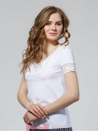 Фото - Однотонная белая футболка с кружевом 74/51 Ellen Ellen купить в Киеве и Украине