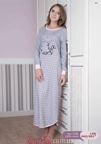 Фото - Длинная сорочка/платье с начесом LND040/001 Ellen Ellen купить в Киеве и Украине