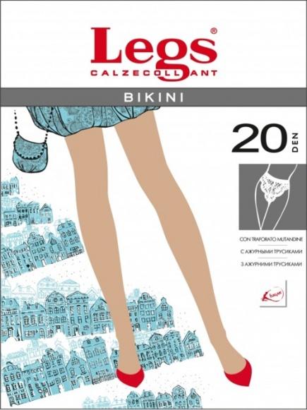 Тонкие прозрачные колготки с кружевными трусиками 260 Bikini 20den Legs Legs