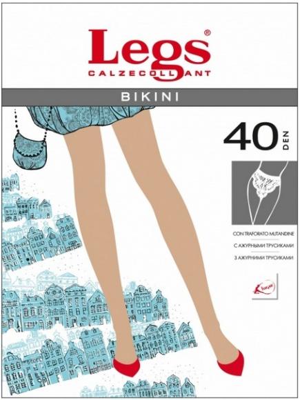 Тонкие прозрачные колготки с кружевными трусиками 261 Bikini 40del Legs Legs