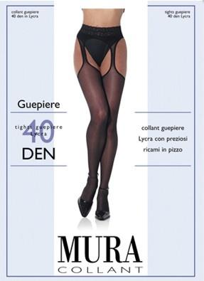 Колготки с имитацией чулок с кружевным поясом 622 Guepiere 40 den Mura Mura