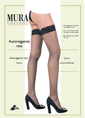 Чулки в мелкую сетку с кружевной резинкой на силиконе 675 Self Mura Mura