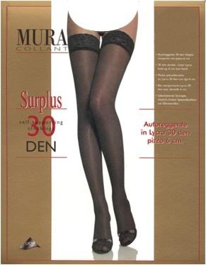 Чулки с кружевом на силиконе 30den 828 Surplus Mura Mura