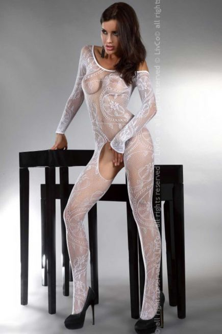 Женский боди - комбинезон с длинным рукавом Abra white Livia Corsetti Livia Corsetti