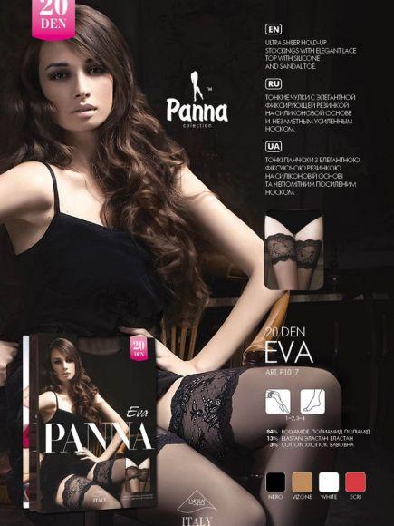 Чулки с кружевом на силиконе Eva 20den Panna Panna