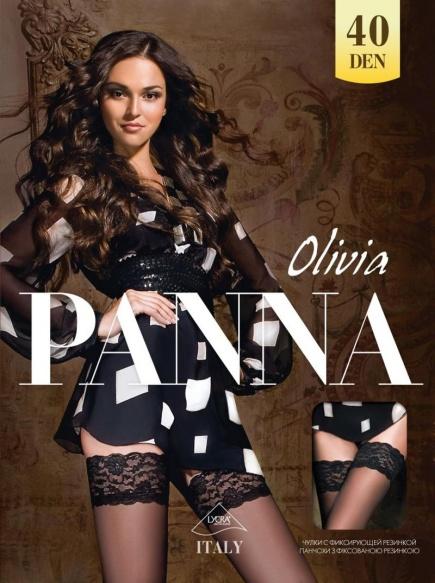 Чулки с кружевом на силиконе Olivia 40den Panna Panna