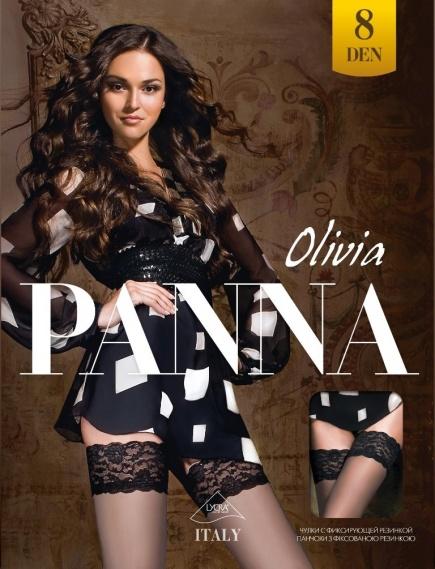 Чулки с кружевом на силиконе Olivia 8den Panna Panna