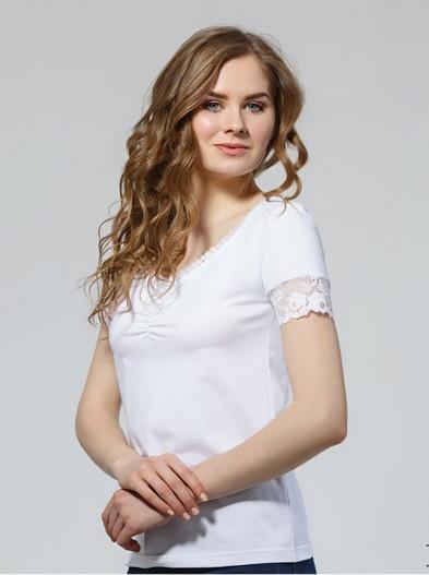 Однотонная белая футболка с кружевом 74/51 Ellen Ellen