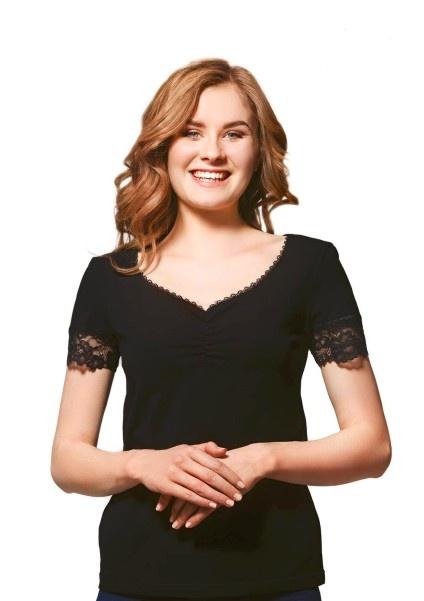 Однотонная черная футболка с кружевом 74/51 Ellen Ellen