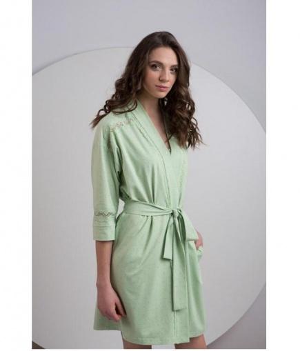 Женский трикотажный халат с кружевной отделкой LDG 027/001 Ellen Ellen