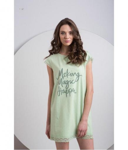 Женская трикотажная ночная сорочка с кружевной отделкой LND 077/001 Ellen Ellen