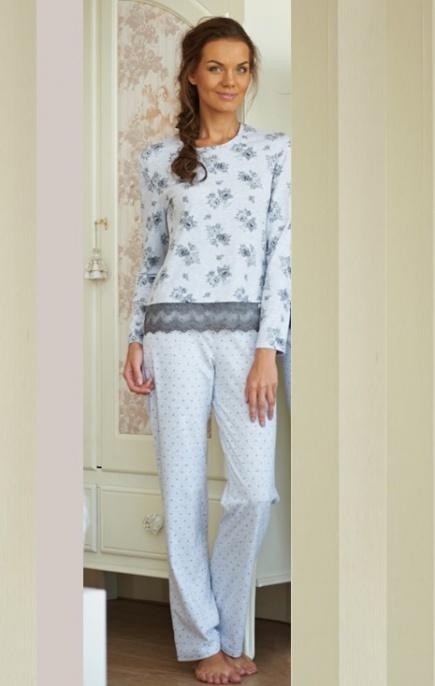 Женская трикотажная хлопковая пижама с длиным рукавом со штанами LNP 011/001 Ellen Ellen