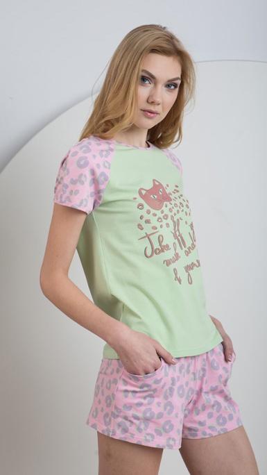 Трикотажная хлопковая пижама футболка и шорты LNP 025/002 Ellen. Ellen