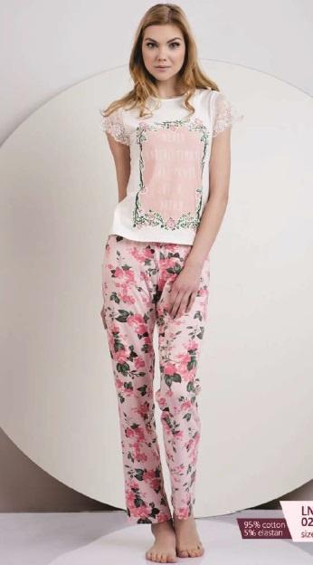 Женская хлопковая пижама футболка и штаны LNP 028/001 Ellen. Ellen