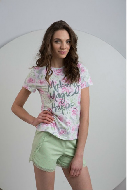 Трикотажная пижама футболка и шорты LNP029/001 Ellen Ellen