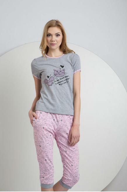 Женская трикотажная пижама футболка и капры LNP 031/001 Ellen Ellen