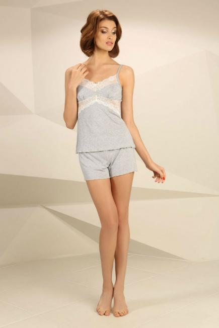 Ночная сорочка с кружевом НС-М-22 серый меланж Violet Delux Violet ... 6fb79f1cf36bf