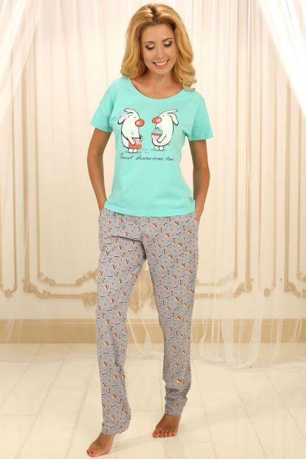 Хлопковая пижама П-М-56 мятная Violet delux Violet delux