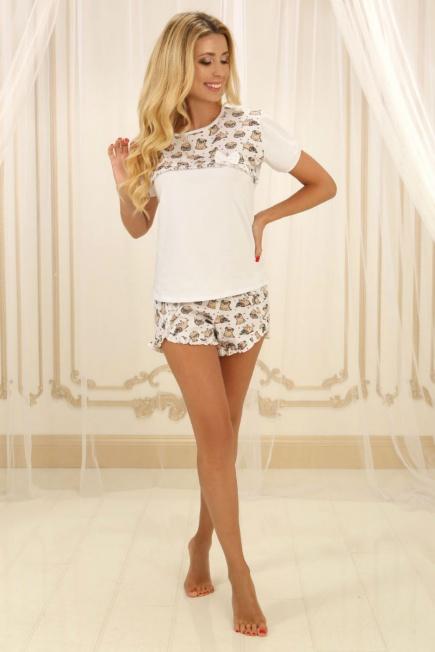 Хлопковая пижама П-М-71 белая с мопсами Violet Delux 132a3d4e00fcb