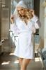 Фото - Белый атласный халат с капюшоном N-703 Excellent Beauty excellent beauty купить в Киеве и Украине